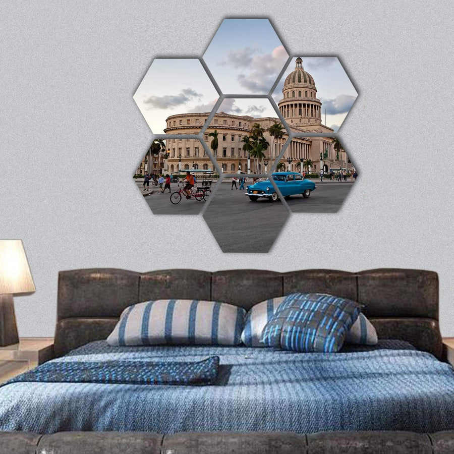 Capitol Building In Havana Cuba Hexagonal Canvas Wall Art 1 Hexa / Small / Gallery Wrap Tiaracle