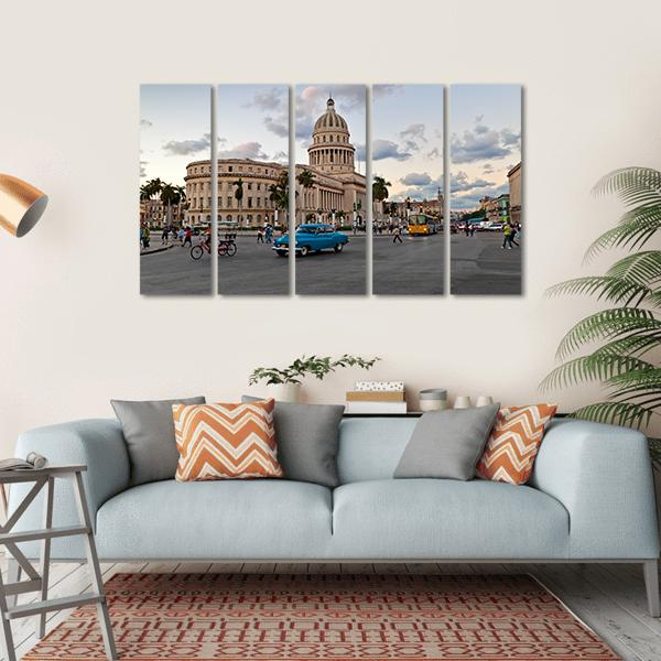 Capitol Building In Havana Multi Panel Canvas Wall Art 1 Piece / Small / Gallery Wrap Tiaracle