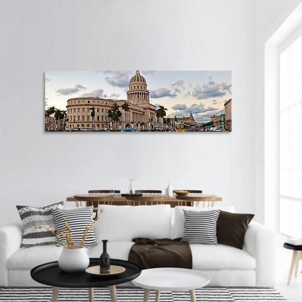 Capitol Building In Havana Panoramic Canvas Wall Art 3 Piece / Small Tiaracle