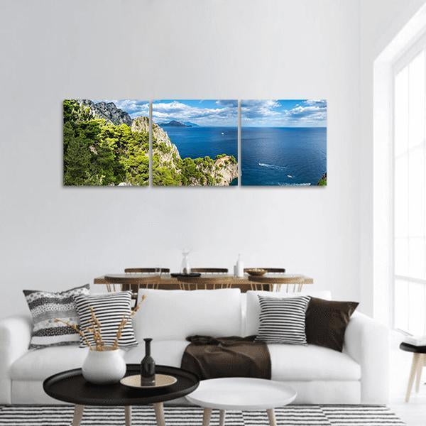 Capri Island In A Summer Day Panoramic Canvas Wall Art 1 Piece / Small Tiaracle
