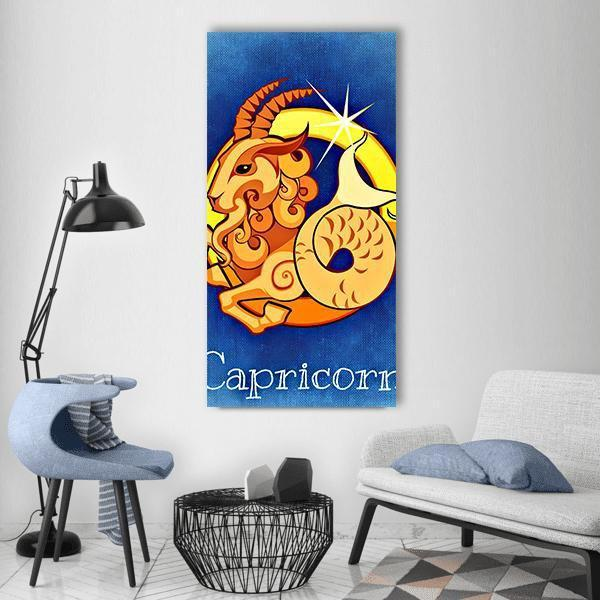Capricorn Zodiac Sign Vertical Canvas Wall Art 3 Vertical / Small / Gallery Wrap Tiaracle