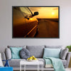 Car In The Sunset Canvas Wall Art