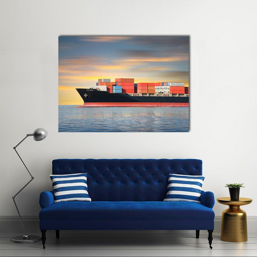 Cargo Ship And Cargo Container In Sea Multi Panel Canvas Wall Art 5 Pieces(B) / Medium / Canvas Tiaracle