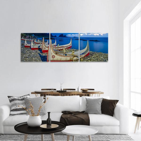 Carving Boat At Orchid Island Panoramic Canvas Wall Art 1 Piece / Small Tiaracle