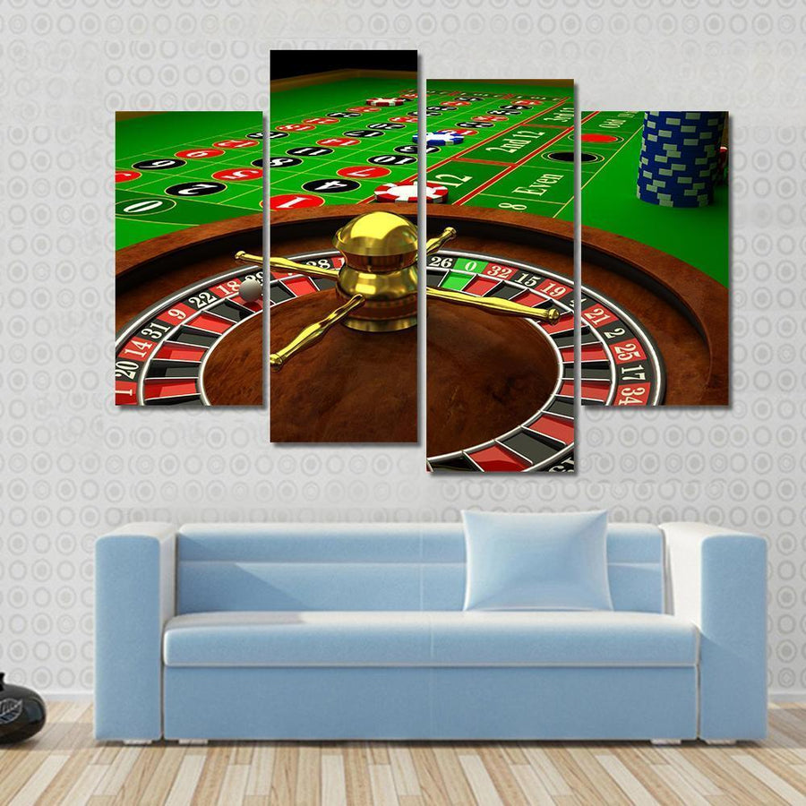 3D Rendered Image Of Casino Roulette Canvas Panel Painting Tiaracle