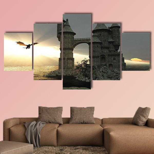 Fairy Tale Castle And A Flying Dragon Multi Panel Canvas Wall Art 3 Pieces / Medium / Canvas Tiaracle