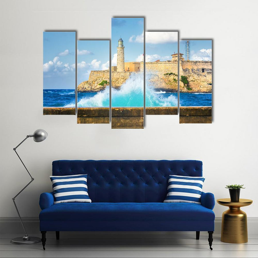 Hurricane In Havana With A View of Castle Of El Morro Multi Panel Canvas Wall Art 3 Pieces / Small / Gallery Wrap Tiaracle