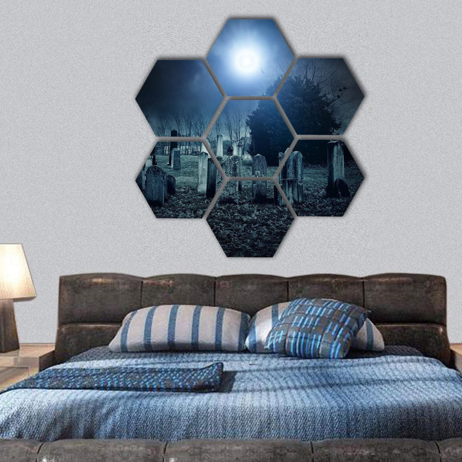 Cemetery Night Hexagonal Canvas Wall Art 1 Hexa / Small / Gallery Wrap Tiaracle