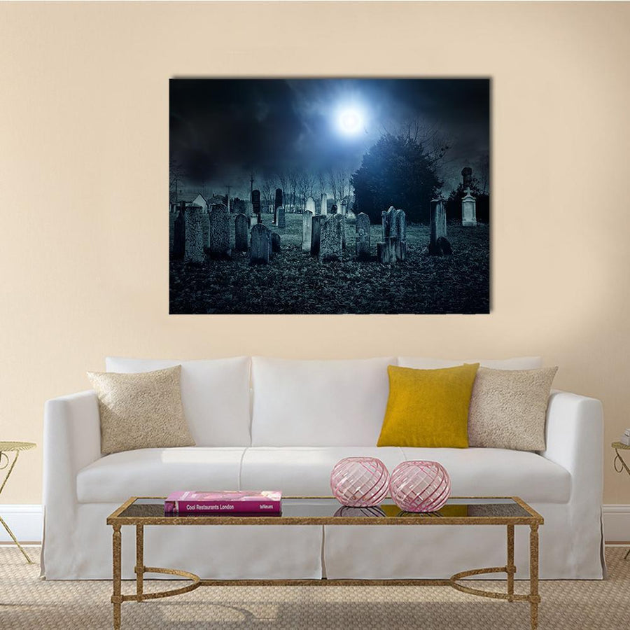 Cemetery Night Multi Panel Canvas Wall Art-5 Horizontal-Small-Gallery Wrap-Tiaracle