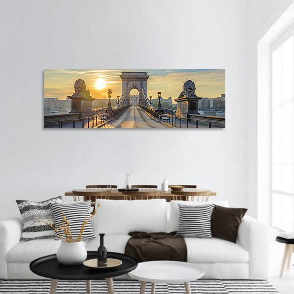 Chain Bridge at sunrise in Budapest Panoramic Canvas Wall Art 3 Piece / Small Tiaracle