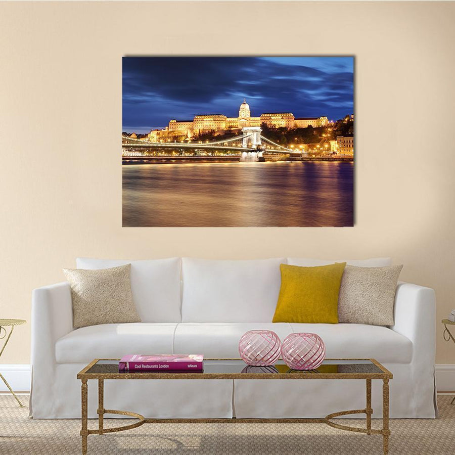 Chain Bridge In Budapest Canvas Wall Art-5 Horizontal-Small-Gallery Wrap-Tiaracle