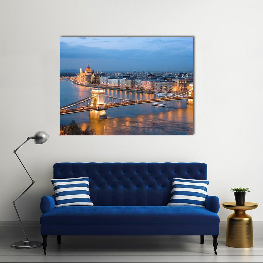 Chain Bridge On Danube River Multi Panel Canvas Wall Art-4 Horizontal-Small-Gallery Wrap-Tiaracle