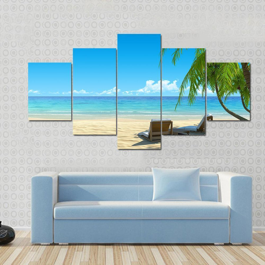 Beautiful Chairs On Idyllic Tropical White Sand Beach Canvas Panel Painting Tiaracle