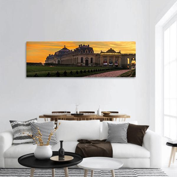Chantilly Castle View in Paris Panoramic Canvas Wall Art 3 Piece / Small Tiaracle