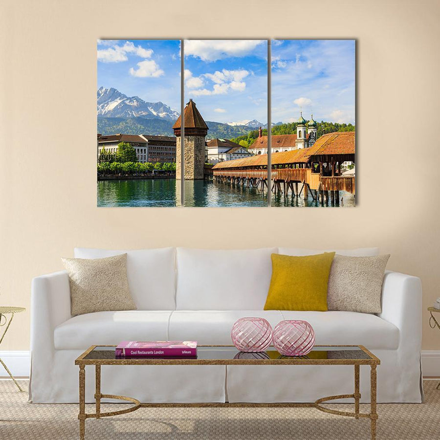 Chapel Bridge Kapellbrucke Across Reuss River Multi Panel Canvas Wall Art 1 Piece / Medium / Canvas Tiaracle