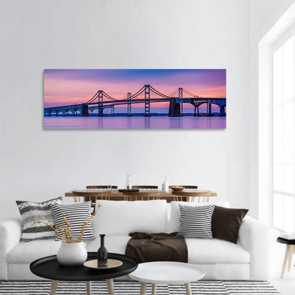 Chesapeake Bay Bridge In Maryland Panoramic Canvas Wall Art 3 Piece / Small Tiaracle