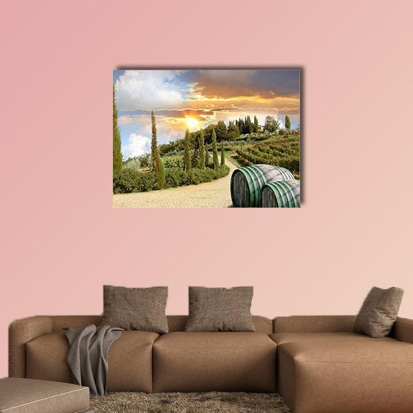 Chianti Vineyard Landscape In Tuscany Multi Panel Canvas Wall Art 4 Pieces / Medium / Canvas Tiaracle