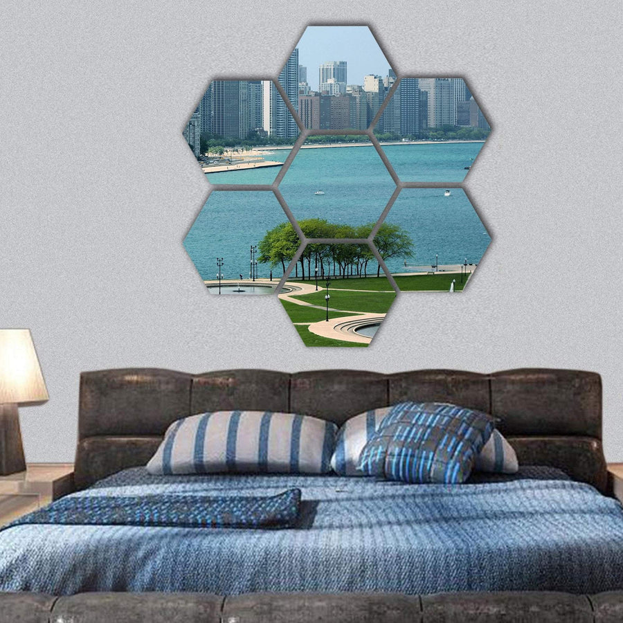 Chicago Cityscape And Michigan Lake Hexagonal Canvas Wall Art 1 Hexa / Small / Gallery Wrap Tiaracle