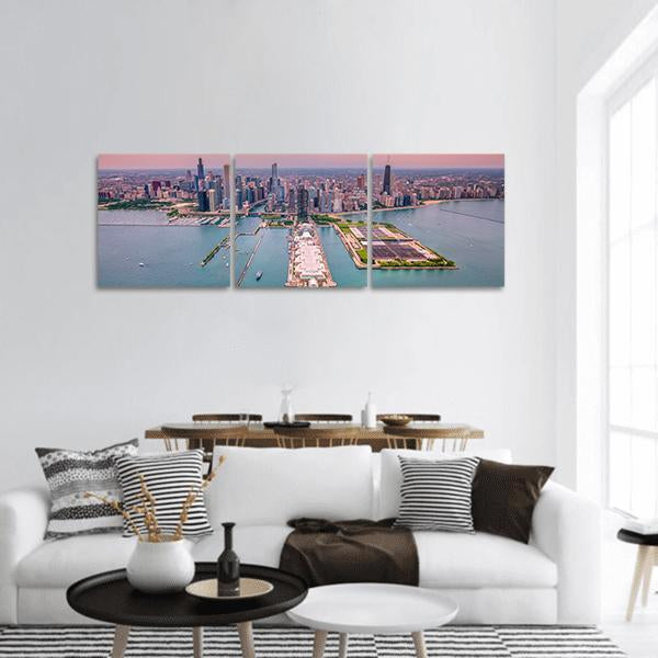Aerial Chicago Cityscape Panoramic Canvas Wall Art Tiaracle