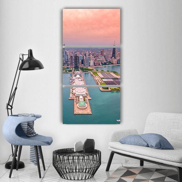 Chicago Panorama Cityscape Vertical Canvas Wall Art 1 Vertical / Small / Gallery Wrap Tiaracle