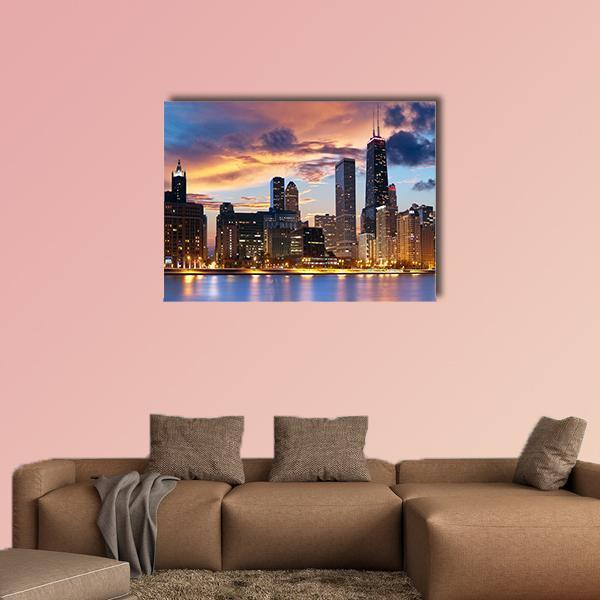 Chicago Skyline At Dusk Multi Panel Canvas Wall Art 5 Pop / Medium / Canvas Tiaracle