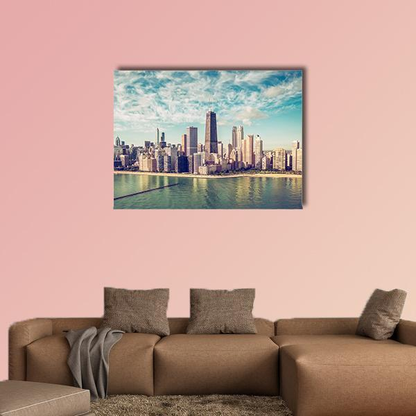 Chicago Skyscrapers By The Beach Multi Panel Canvas Wall Art 3 Pieces / Small / Canvas Tiaracle