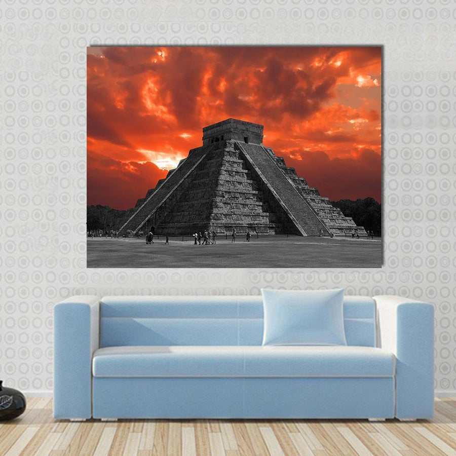 Chichen Itza Temple Multi Panel Canvas Wall Art 4 Horizontal / Small / Gallery Wrap Tiaracle