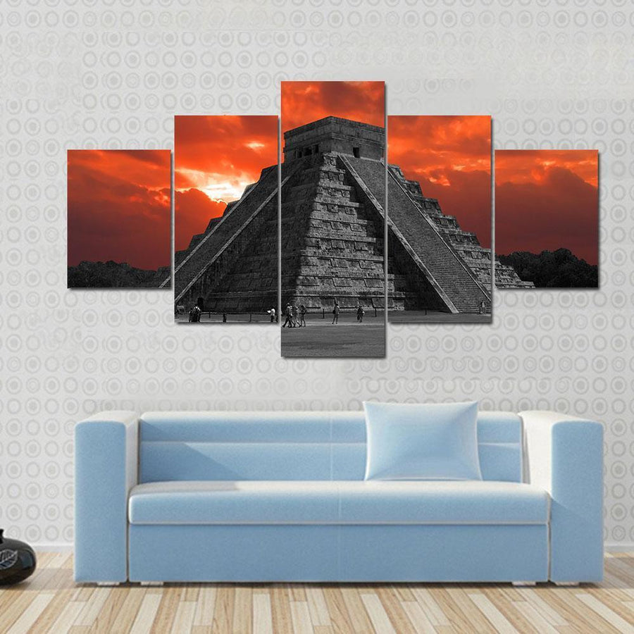 Chichen Itza Temple In Mexico Canvas Panel Painting Tiaracle