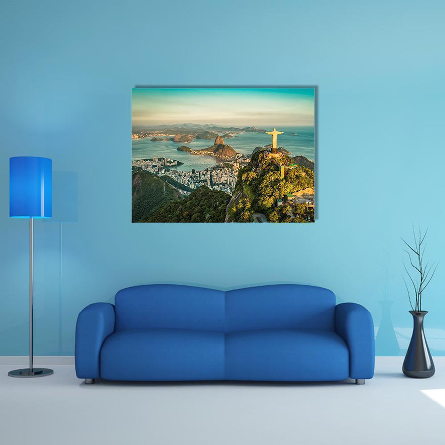 Christ And Botafogo Bay Canvas Wall Art-4 Horizontal-Small-Gallery Wrap-Tiaracle