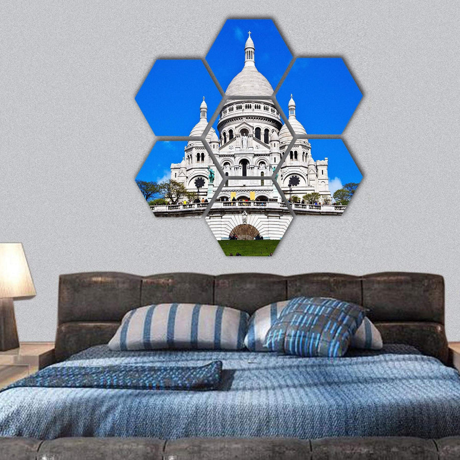 Church Of Sacre Coeur Hexagonal Canvas Wall Art 1 Hexa / Small / Gallery Wrap Tiaracle