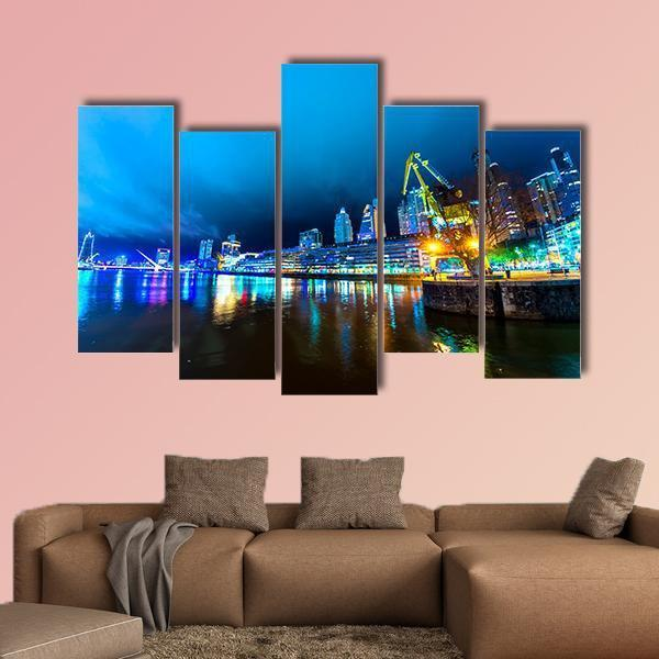 City Lights At Buenos Aires In Argentina Multi Panel Canvas Wall Art 3 Pieces / Small / Canvas Tiaracle