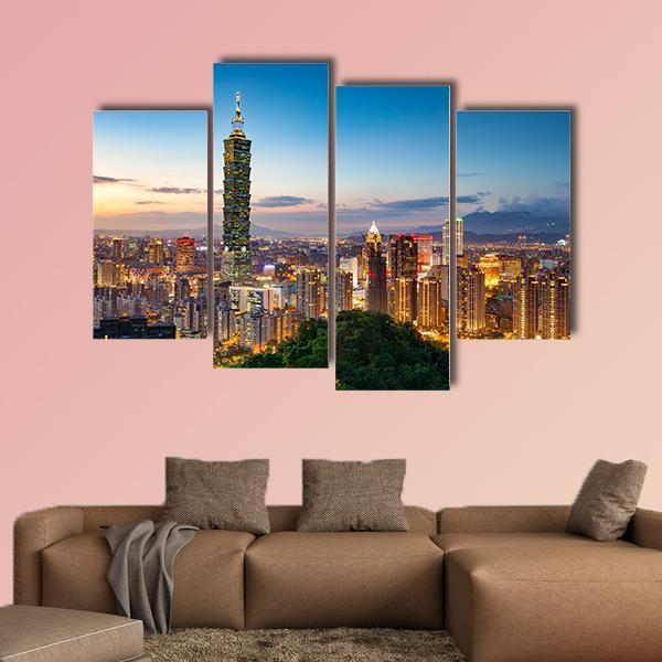 City Of Taipei At Night In Taiwan Multi Panel Canvas Wall Art 3 Pieces / Small / Gallery Wrap Tiaracle