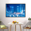 City Sky Line With Fast Moving Cars At Night Canvas Wall Art