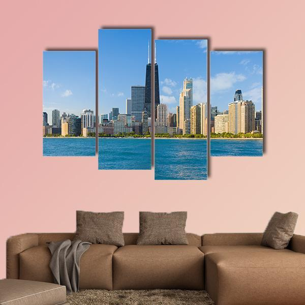 Cityscape Of Chicago In A Summer Day Multi Panel Canvas Wall Art 3 Pieces / Small / Canvas Tiaracle