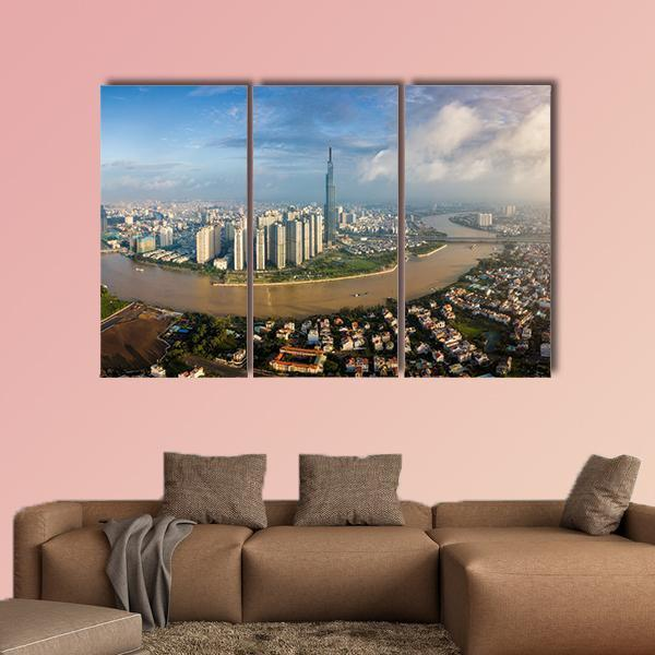Cityscape On Saigon River In VietnamMulti Panel Canvas Wall Art 5 Star / Medium / Gallery Wrap Tiaracle