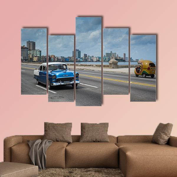Classic American Car Drive On Malecon Sea Multi Panel Canvas Wall Art 3 Pieces / Medium / Canvas Tiaracle