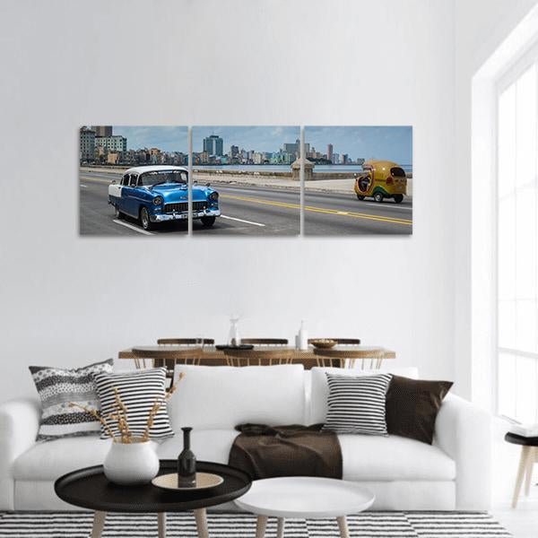 Classic Car In Havana Cityscape Panoramic Canvas Wall Art 1 Piece / Small Tiaracle