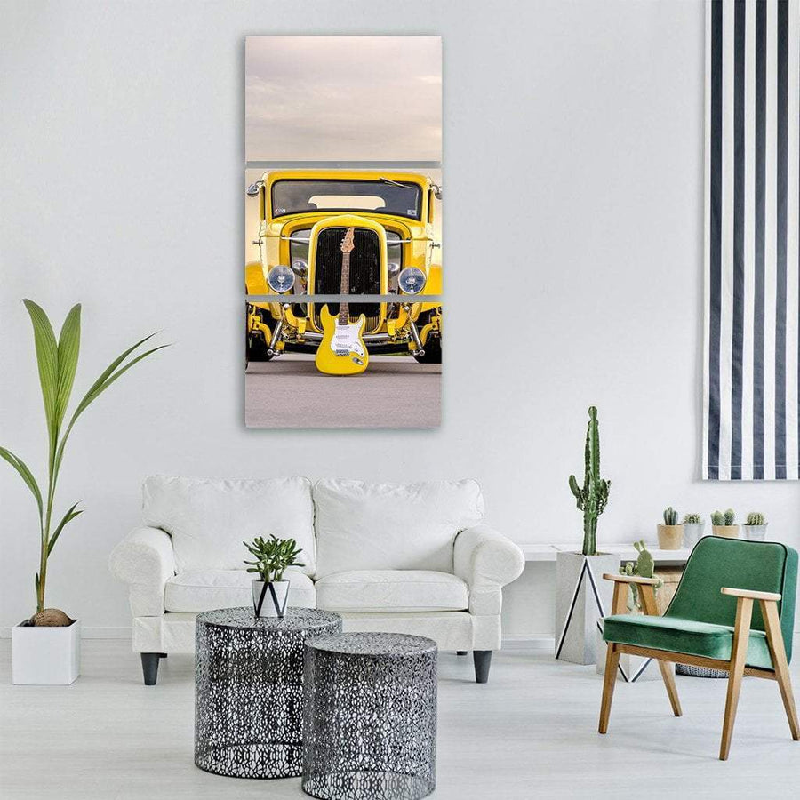 Classic Car With Electric Guitar Vertical Canvas Wall Art 1 Vertical / Small / Gallery Wrap Tiaracle