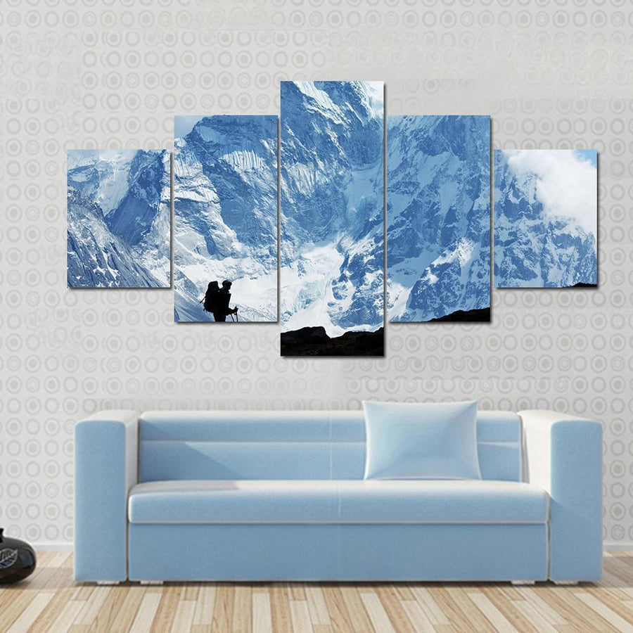 Climber In Himalayan Mountain Canvas Panel Painting Tiaracle