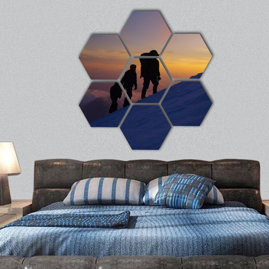 Climbers On The Everest Hexagonal Canvas Wall Art-1 Hexa-Small-Gallery Wrap-Tiaracle
