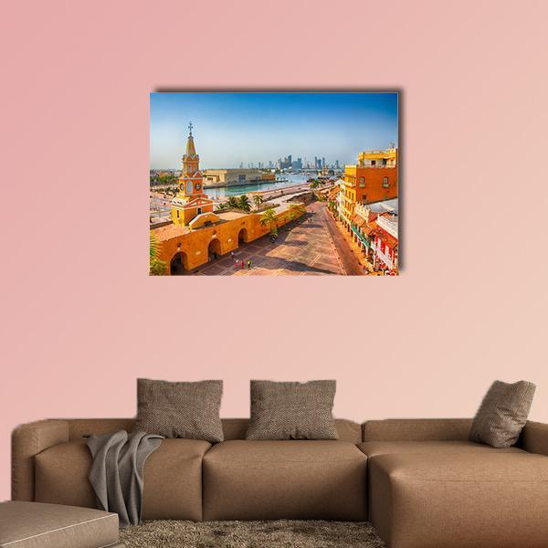 Clock Tower Gate In Cartagena's Old City Multi Panel Canvas Wall Art 5 Pieces(A) / Medium / Canvas Tiaracle