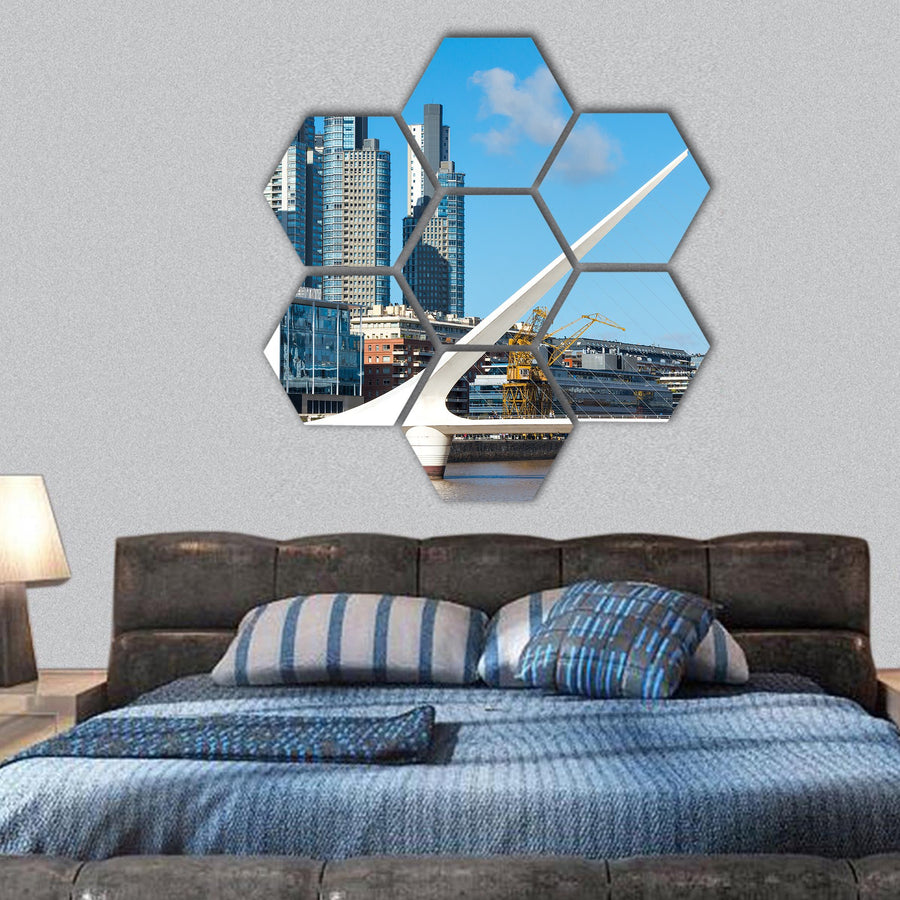 Close Up Of Puerto Madero Hexagonal Canvas Wall Art-1 Hexa-Small-Gallery Wrap-Tiaracle