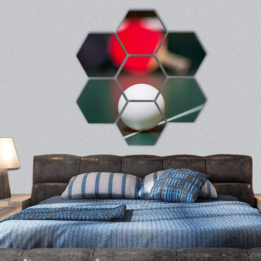 Close-Up View Of White Table Tennis Ball Hexagonal Canvas Wall Art 1 Hexa / Small / Gallery Wrap Tiaracle