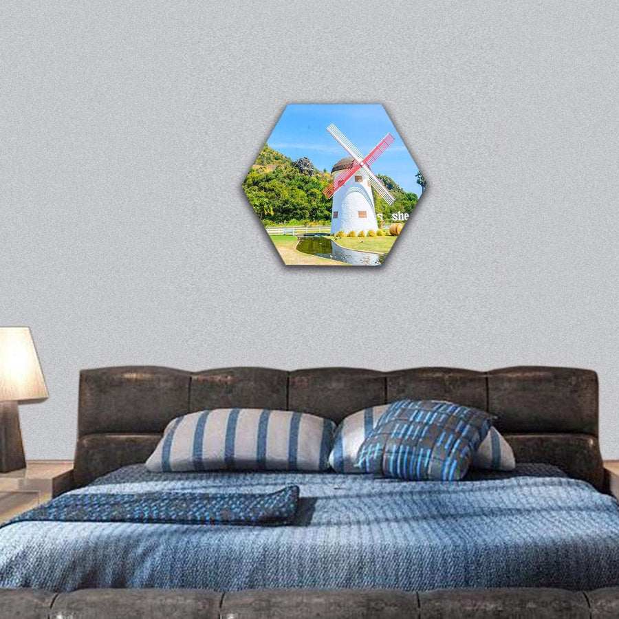 Close-Up View Of Windmill Hexagonal Canvas Wall Art 7 Hexa / Small / Gallery Wrap Tiaracle