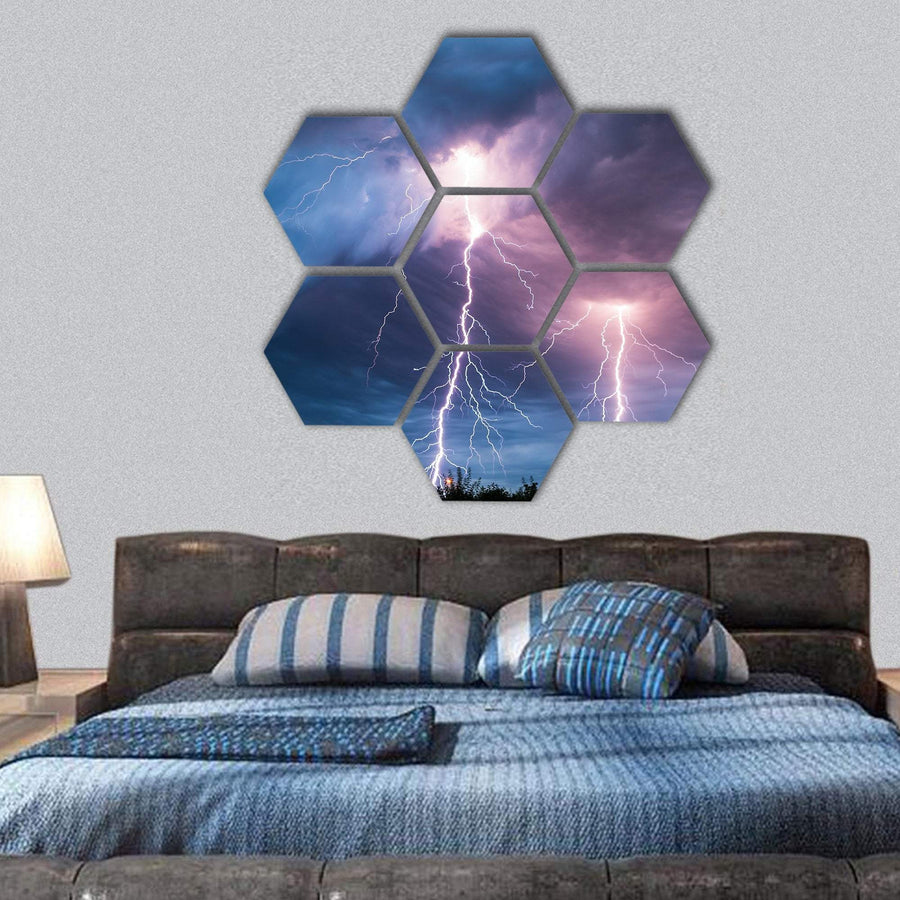 Clouds And Thunder Lightnings And Storm Hexagonal Canvas Wall Art 1 Hexa / Small / Gallery Wrap Tiaracle