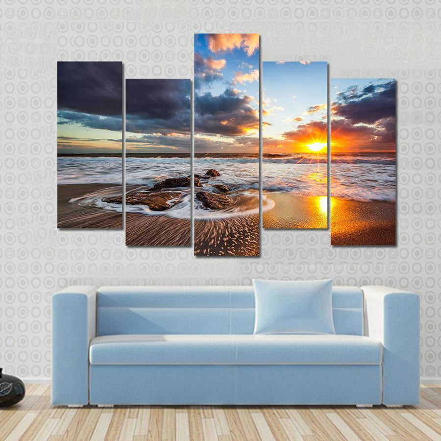 Beautiful Sunrise With Cloudscape Over The Sea Canvas Panel Painting Tiaracle