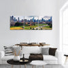 Cloudy Day In Chicago Downtown Illinois Panoramic Canvas Wall Art 3 Piece / Small Tiaracle