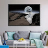 Coastline With Bright Moon Canvas Wall Art