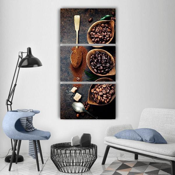 Coffee Beans Vertical Canvas Wall Art 1 Vertical / Small / Gallery Wrap Tiaracle