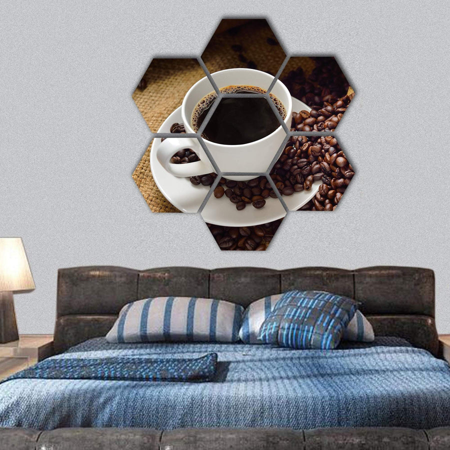 Coffee Cup And Coffee Beans Hexagonal Canvas Wall Art 1 Hexa / Small / Gallery Wrap Tiaracle